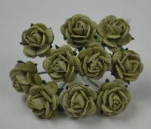 1 cm OLIVE GREEN Mulberry Paper Roses
